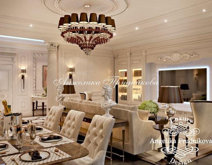Дизайн проект интерьера гостиной стиле Ар Деко на Новой Басманной - фото