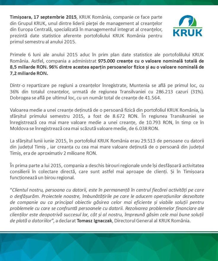 In judetul Timis, KRUK Romania, companie de colectare creante avea 29.513 de clienti cu datorii. http://ro.kruk.eu/serviciul-de-presa/stiri/