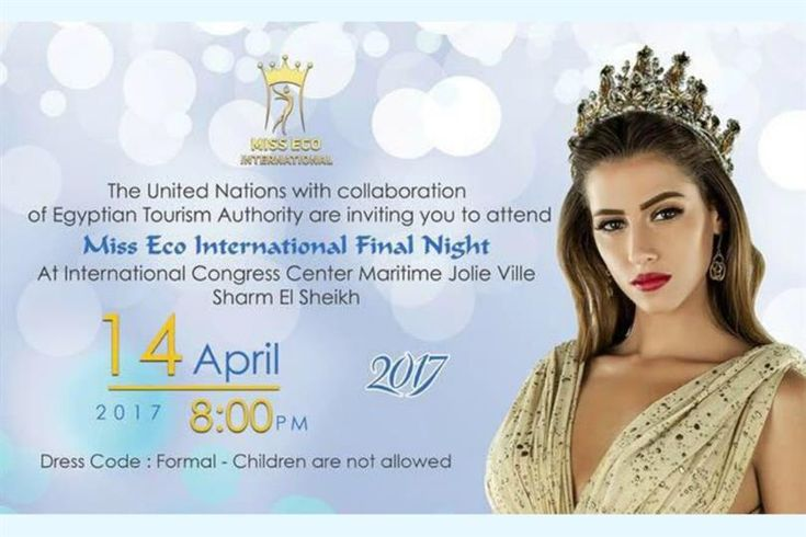 Miss Eco International 2017 Finale Schedule
