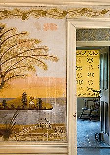 Rufus Porter mural, Joshua Eaton House (1804), Boxford, Massachusetts. Photo credit: Brian Vanden Brink for Yankee Magazine's