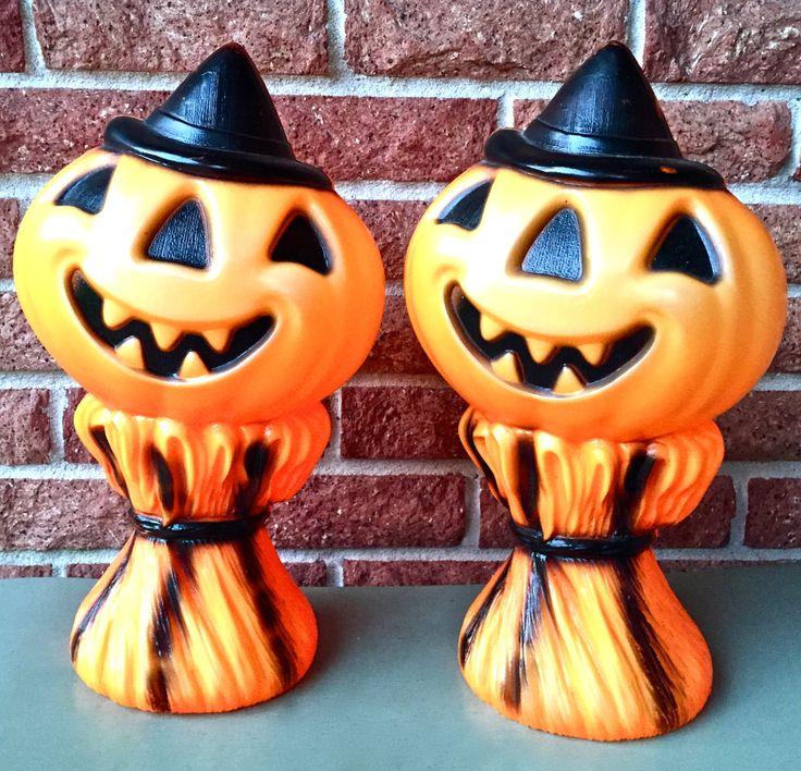 Vintage Halloween Decor Decorations Pumpkin on Cornstalk Bundle Empire Plastics Company USA by YatsDomino on Etsy