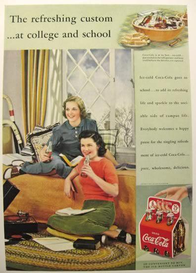 old school coca cola ads | 1939 Coca Cola Ad ~ At College and School, Vintage Coca Cola Ads