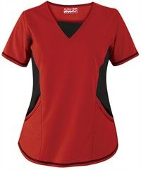Butter-Soft+Scrubs+by+UA™+V-Neck+Scrub+Top+with+Stretch+Knit+Panels