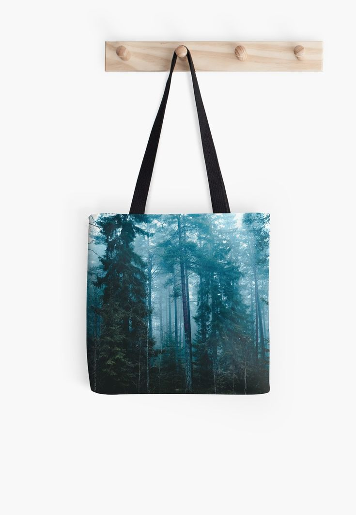 'Hard roads ahead' Tote Bag by HappyMelvin. #forest #fog #nature #bags #totebag