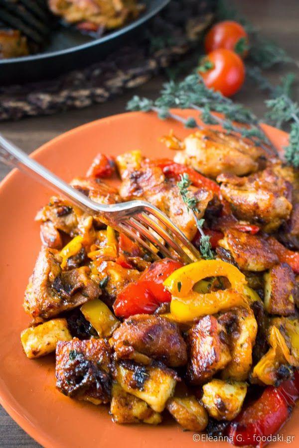 Τηγανιά με Κοτόπουλο, Ταλαγάνι και Πιπεριές