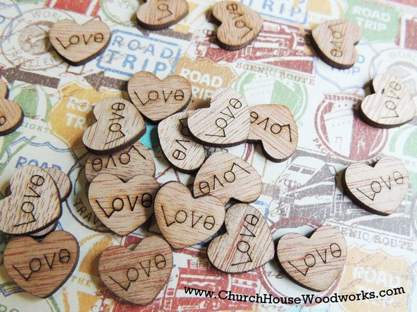 12 boho chic rustic cedar place card holders by church house see more wood love heart table confetti