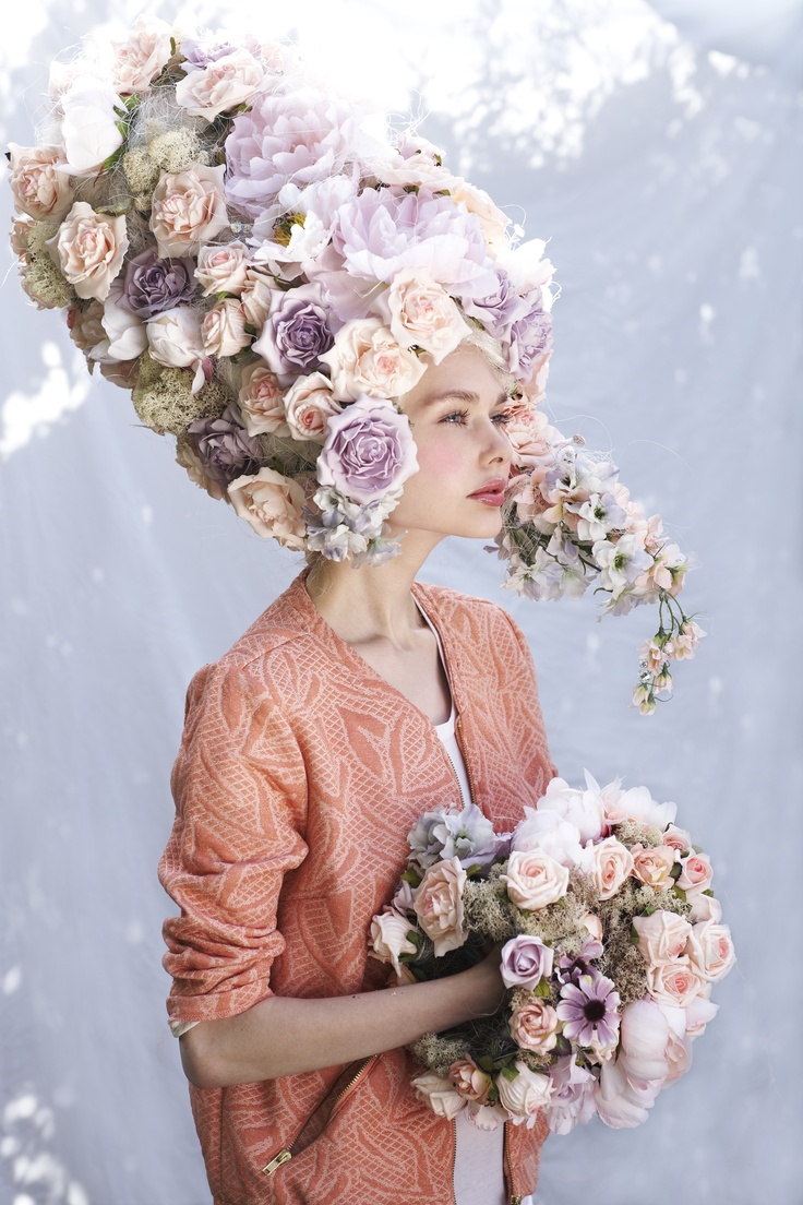 Powdered wig and cuffs taking inspiration from Marie Antoinette and Baroque stylings.  To see all of my head piece designs go to www.harrietparryflowers.blogspot.com