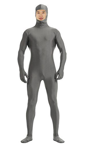 JustinCostume Spandex Open Face Full Bodysuit Zentai Suit - Medium, Gray Wolf