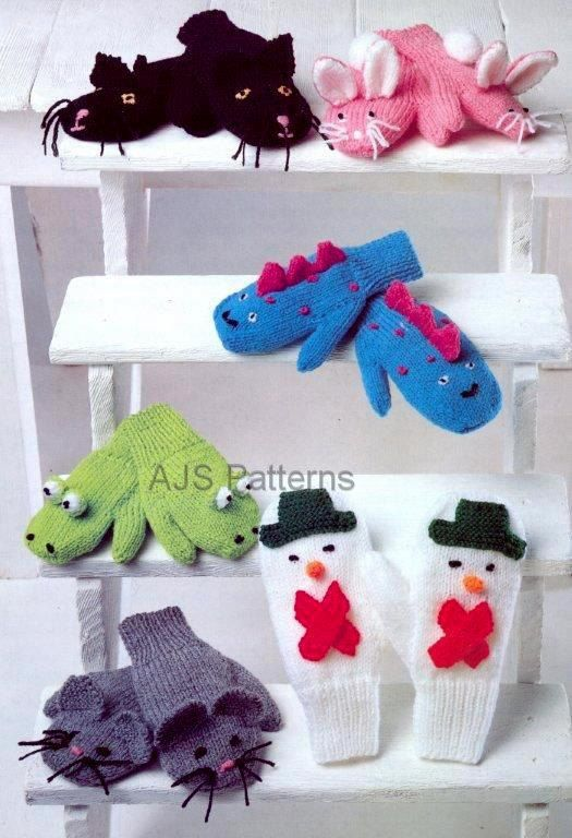 Knitting Pattern for Childrens Novelty Play Mittens.