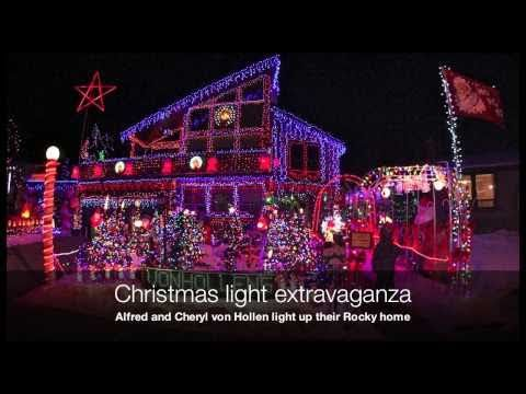 Massive, unbelievable Christmas light show in Rocky Mountain House  Uploaded on Dec 2, 2010  The von Hollen family is once again inviting Central Albertans to take in their enormous Christmas light displays that fill their front and back yards. This year's display includes more than 100,000 LED lights — corporate sponsors help with the power bill — and nearly 80 inflatable figures.