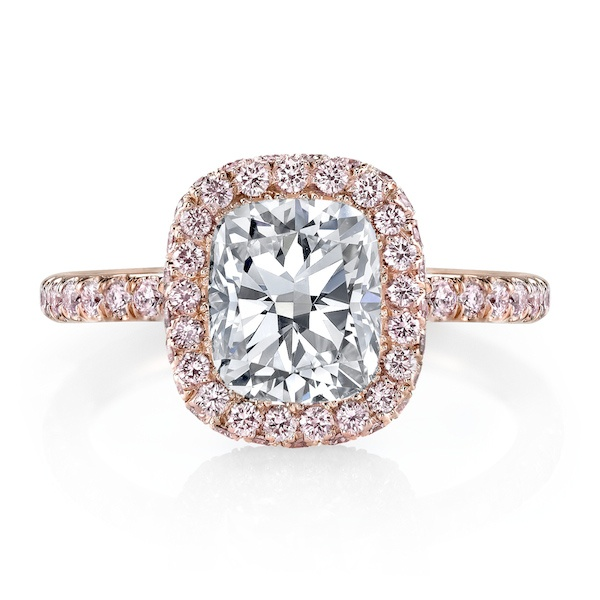 EVA ROSE PINK is a handcrafted engagement ring set in Rose Gold and shown  with a Cushion cut diamond inside a seamless halo™ of rare, natural, Fancy,  ...