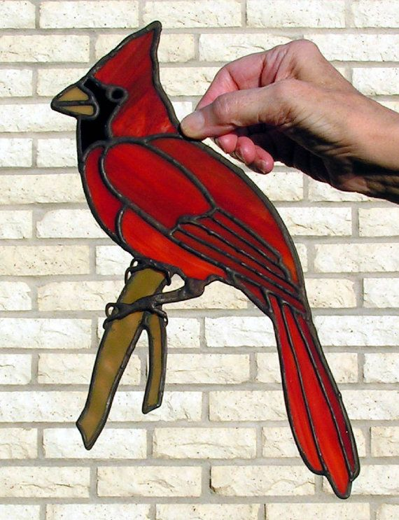 Opaque Stained Glass Cardinal by WexfordStainedGlass on Etsy