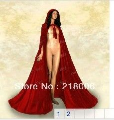 $36.10 Free shipping New Red Velvet Hooded Vampire Cape Halloween Party Cloak Size S-XxL