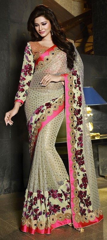 187911 Beige and Brown color family Bridal Wedding Sarees in Art Silk, Brasso, Velvet fabric with Border, Machine Embroidery, Mirror, Resham, Stone, Zari work with matching unstitched blouse.