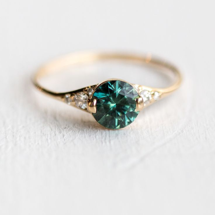 Teal Green Sapphire Lady's Slipper Engagement Ring in Solid 14k Yellow Gold …