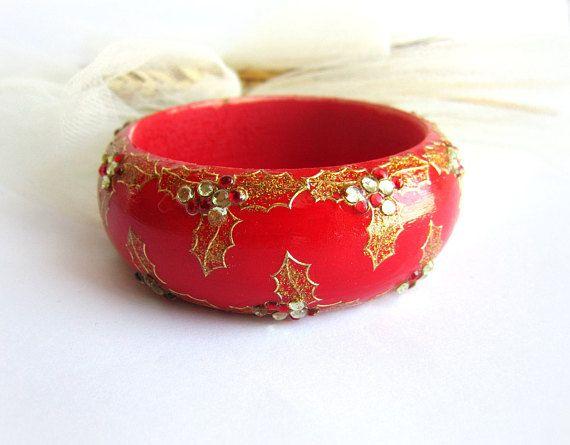 Red wooden bracelet painted wood bangle christmas bracelet