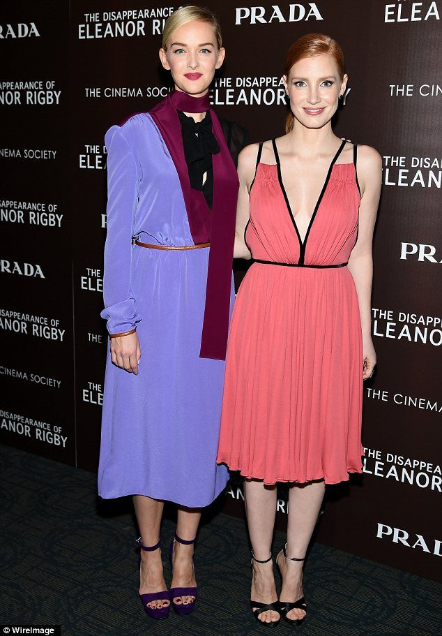 Brightening up the red carpet: Jessica also caught up with Jess Weixler, who stood out in an elaborate dress