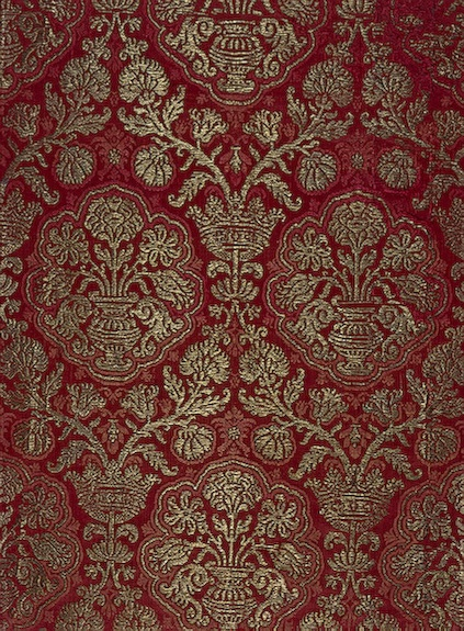 Hermitage: Brocade with a Pomegranate Pattern Silk with golden thread; 99x56 cm Italy or Spain. 16th century