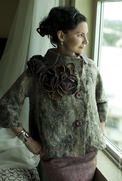 beautiful felted wool jacket w flowers