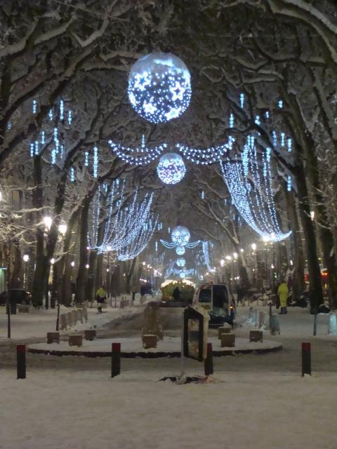 Magique, le cours Mirabeau d'Aix en Provence sous la neige 2009 et décoré pour Noël...