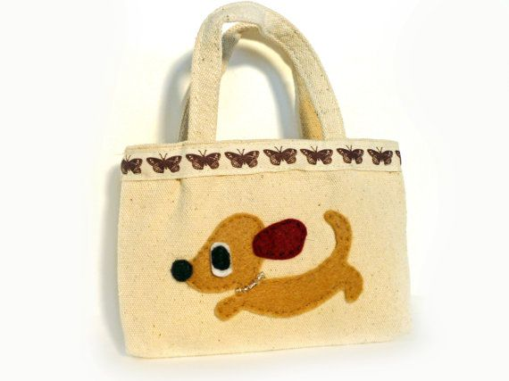 Girl's Puppy Purse Cute Brown Dachshund Weenie Dog by SquirrelNap, $16.00