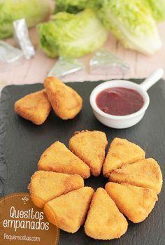 Quesitos empanados. Una receta fácil: quesitos empanados, aperitivos riquísimos y muy sencillos de preparar. No te pierdas la receta paso a paso.