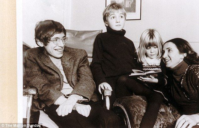 Family: Hawking pictured with his wife Jane and their children Robert and Lucy