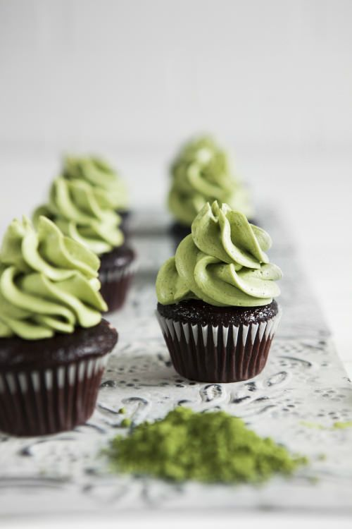 Chocolate Cupcakes with Black- Currant Jam & Matcha Frosting