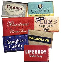 Bars of soap - Cadum, Camay, Lux, Palmolive, Lifebouy, Knights Castle.