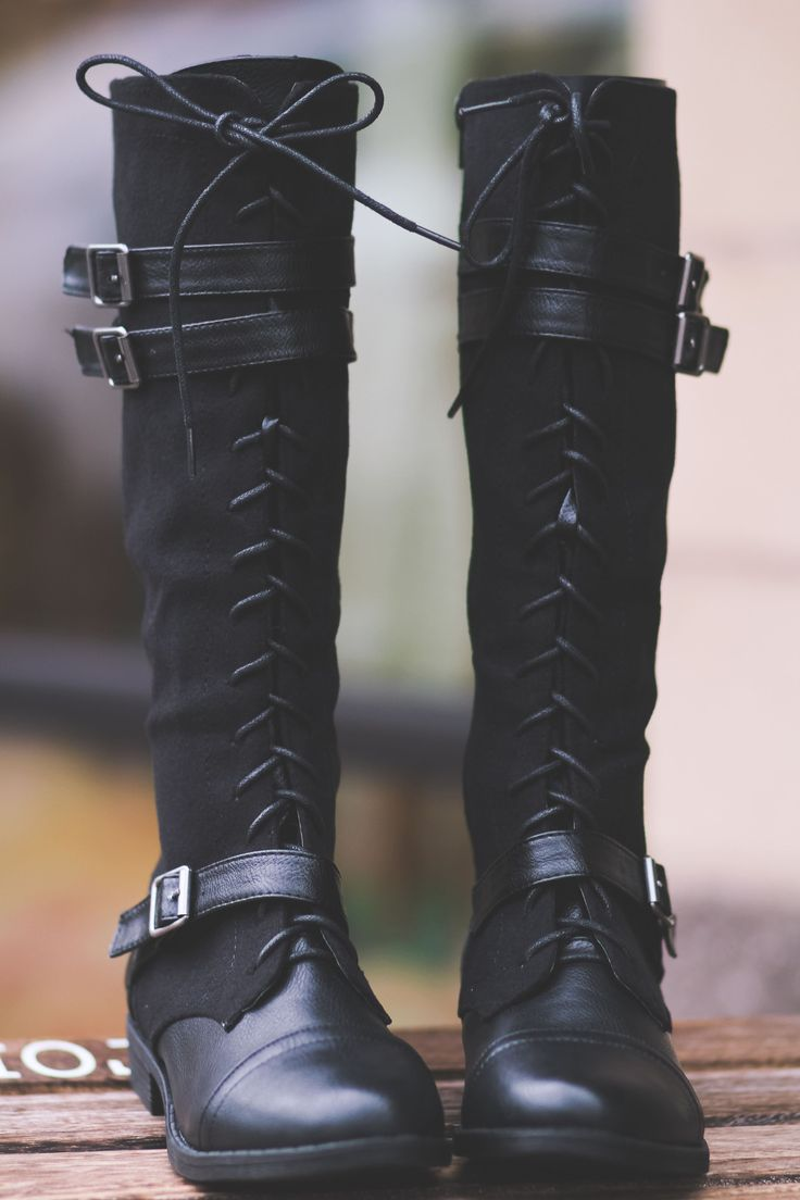 Running Into Town Tall Lace Up Boots-Black - NanaMacs.com - 5