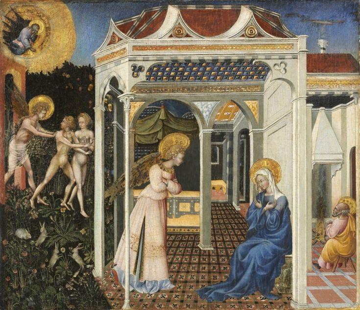 di paolo zwiastowanie i wygnanie z raju, obraz religijny