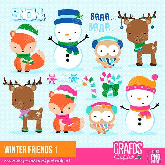 WINTER FRIENDS 1 - Digital Clipart Set, Merry Christmas Clipart, Holidays Clipart, Winter Clipart, Winter Animals clipart.