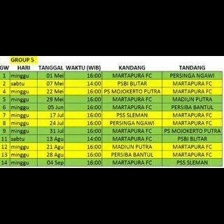Jadwal Pertandingan Martapura FC di Ajang Torabika Soccer Championship B (TSC B) 2016 Group 5.