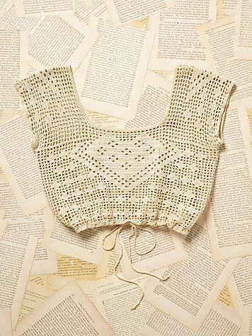 Free People Vintage 1950s Crochet Crop Top