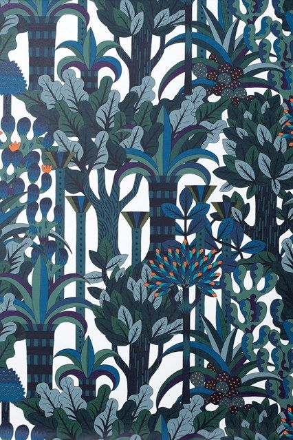 Wallpaper: 'Jardin d'Osier' (emeraude), 70cm wide, £125.50 a metre at Hermès. Source: House & Garden UK