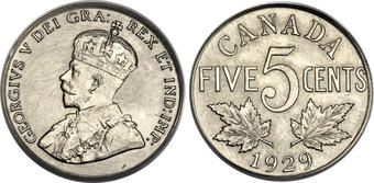 George V, Canada, 5 Cents, 1929