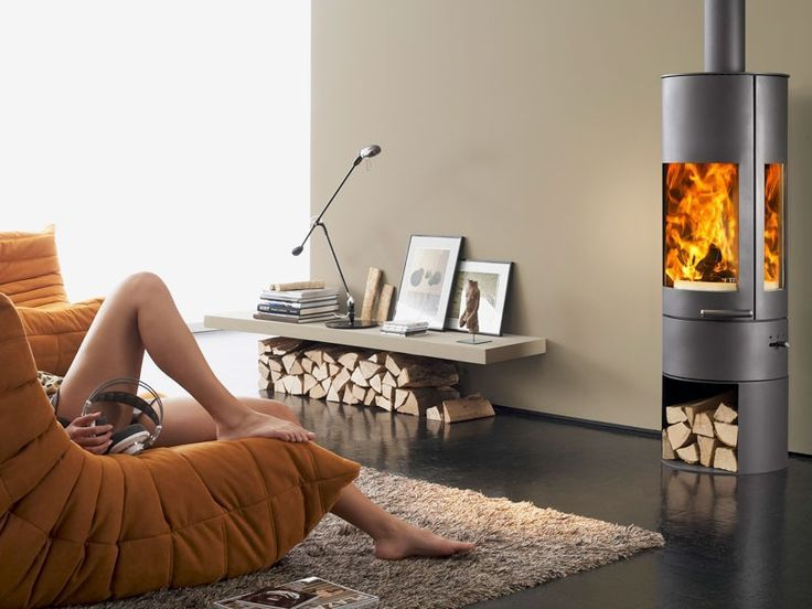 Modern Living Room With Wood Burning Stove