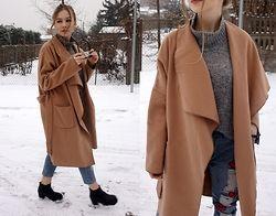 Karina Mucha - Sheinside Coat, Lovelywholesale Boyfriend Jeans, Dressin Sunglasses - CARAMEL