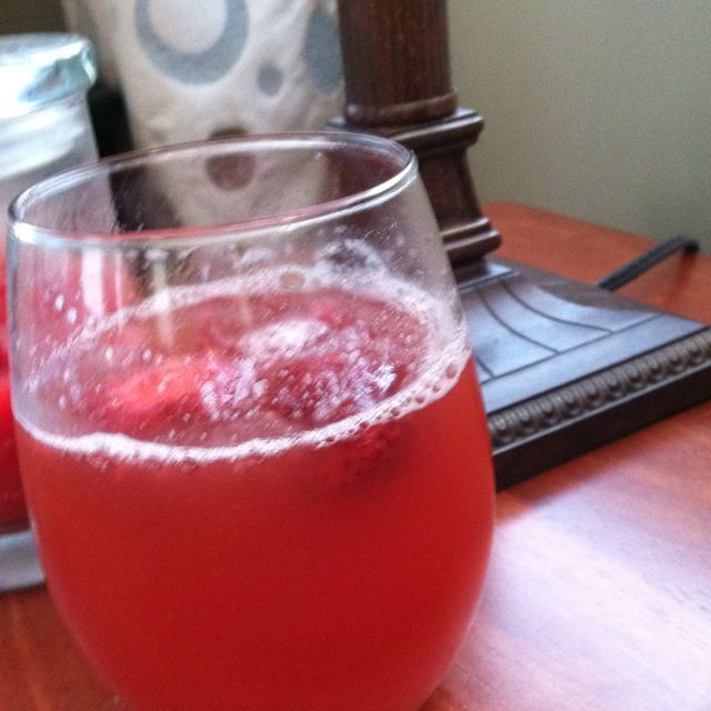 Pink sangria!  1- bottle of ginger ale 1- bottle of white Zinfandel  1- pack of frozen strawberries (great for keeping cold) 2 cups of pineapple juice 1-lime sliced thin 1- lemon sliced thin 1- orange sliced thin