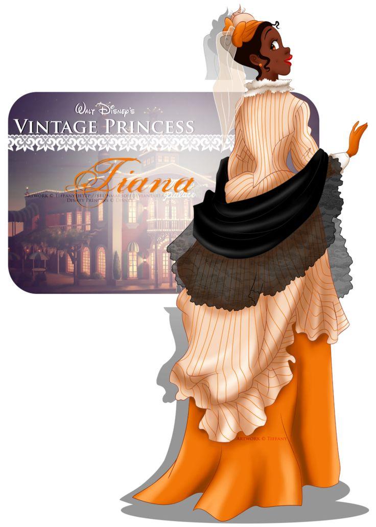 Vintage Princess -Tiana by selinmarsou, Walt Disney animation movie enchanting fairytale Princess and the Frog, art