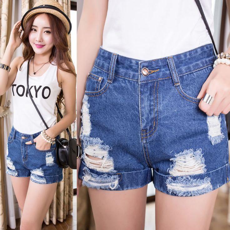 Imagens reais 2014 mulheres de moda de nova rolo solto distrressed up hem roll up hem shorts jeans feminino verão bonito calções quentes em Jeans de Roupas e Acessórios Femininos no AliExpress.com | Alibaba Group