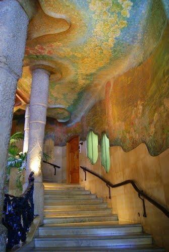 Casa Mila staircase Gaudi 1910,Barcelona, , Spain.