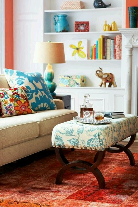 Orange and Teal loveliness for the living room