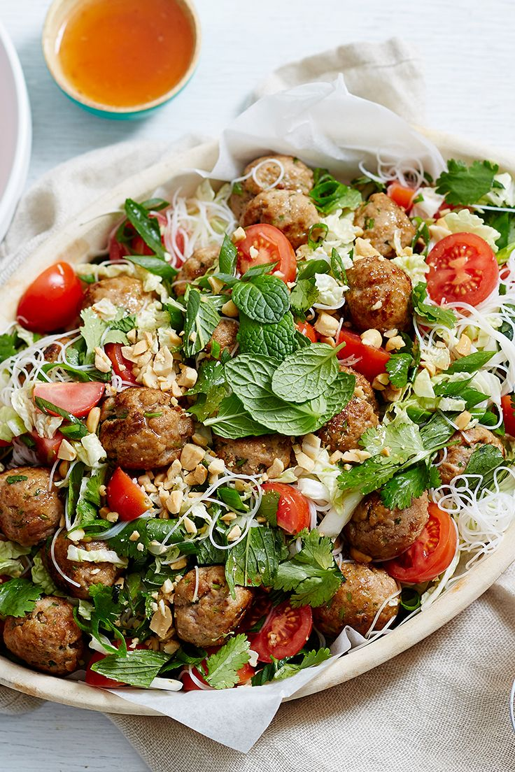 With Thai-spiced meatballs, vermicelli noodles and a sprinkle of crunchy, chopped peanuts, this tasty salad is anything but boring. For added kick, slice up a chilli and toss through the salad - yum!