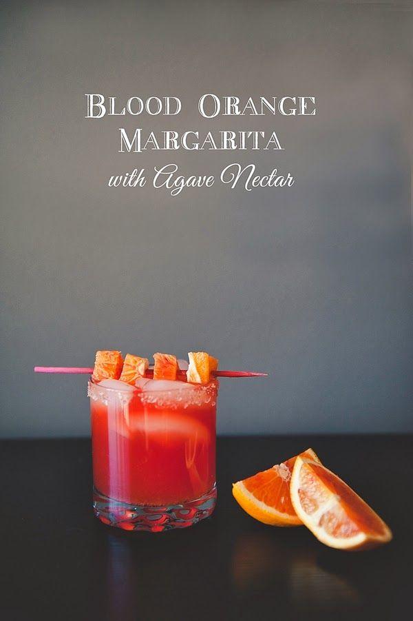 Blood orange margarita with agave nectar