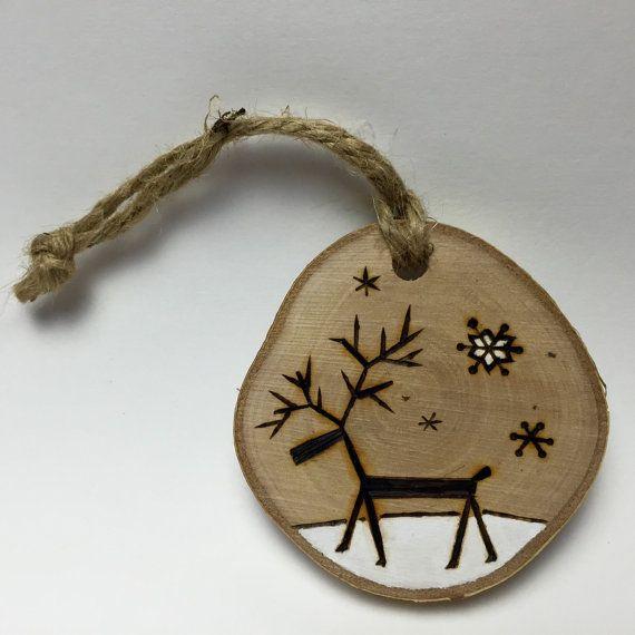 Reindeer Christmas Ornament Handmade Wood by Timmythewoodman