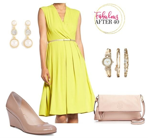 Canary yellow dress with neutral accessories for spring | Fabulous After 40