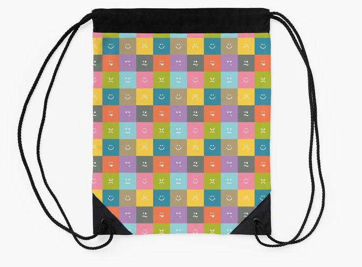 Emoji Emoticon Pattern Illustration by Gordon White | Emoji Flat Drawstring Bag Available @redbubble --------------------------- #redbubble #emoji #emoticon #smiley #faces #cute #addorable #pattern #drawstring #bag
