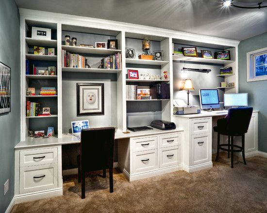 Home Office Built In Desk Design, Pictures, Remodel, Decor and Ideas- His & Hers