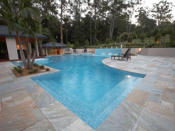 Eco Outdoor Cobb and Co split stone paving used as pool surrounds, Rollingstone Landscapes | Eco Outdoor | Split Stone paving | livelifeoutdoors | Outdoor Design | Natural stone flooring | Garden design | Outdoor paving | Outdoor design inspiration | Outdoor style | Outdoor ideas | Luxury homes | Paving ideas | Garden ideas | Natural stone paving | Floor tiles | Outdoor tiles | Courtyard design | Pool ideas